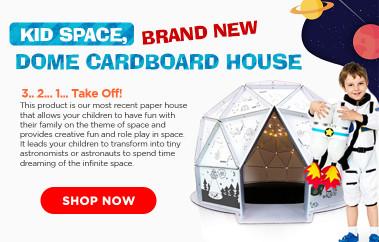KID SPACE, BRAND NEW DOME CARDBOARD HOUSE