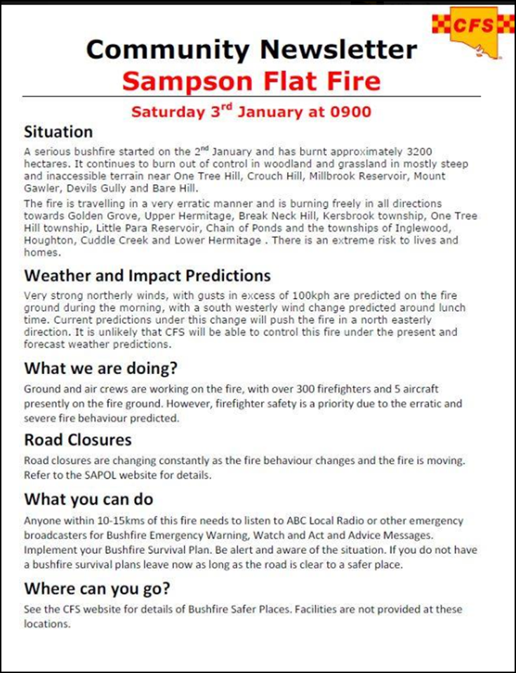 0103 Community Newsletter Sampson Flat Fire.png