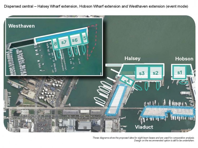 Aerial view of port area of Auckland showing possible locations for America