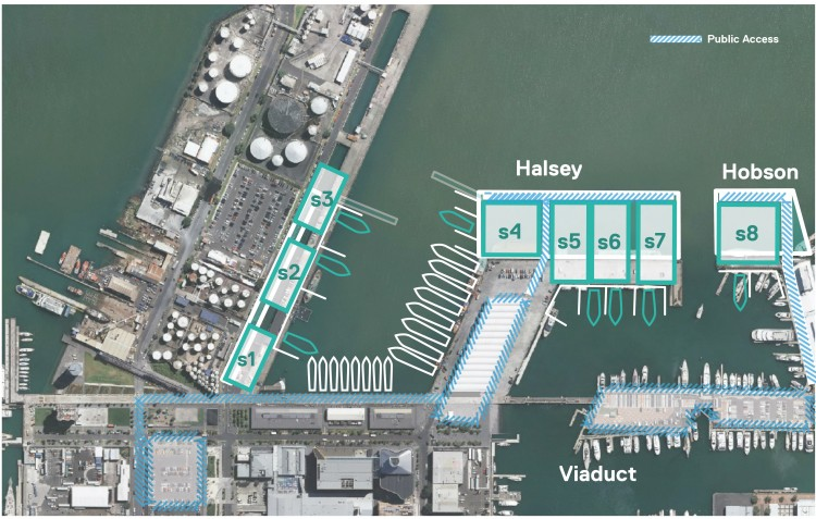 The cluster option of Halsey Wharf, Hobson Wharf and Wynyard Wharf East