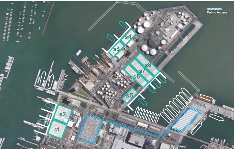 Cluster option on the Western and Eastern side of Wynyard Wharf and Site 18