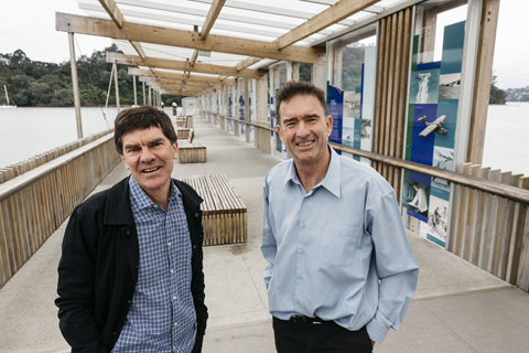 Councillors Wayne Walker and John Watson at Hobsonville Ferry terminal.
