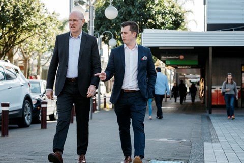 Councillors Chris Darby and Richard Hills on Hurstmere Road.