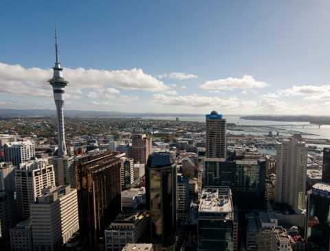 Aerial view of Auckland showing tall buildings and Sky Tower.