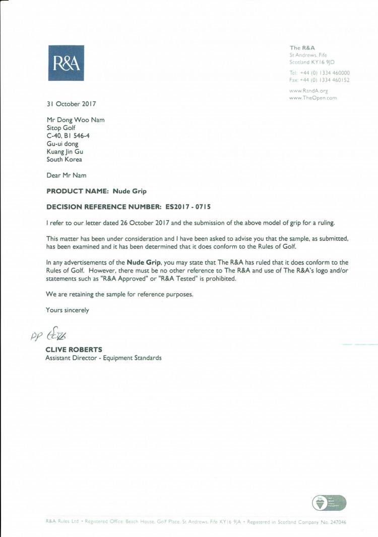 R & A Certificate